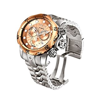 Invicta 10786 Reserve Men's Venom Swiss Made Quartz Rose Tone Dial Stainless Steel Bracelet Watch