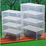 10x Transparent Clear Plastic Shoe Boxes Stackable Foldable Organizer Box Bulk