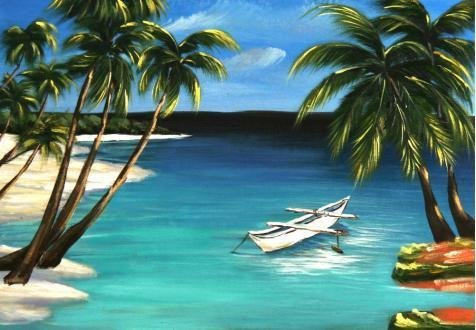 'Landscape Of Beach With Coconut Trees And A Small Boat' Oil Painting, 8x12 Inch / 20x29 Cm ,printed On Perfect Effect Canvas ,this Cheap But High Quality Art Decorative Art Decorative Canvas Prints Is Perfectly Suitalbe For Hallway Decoration And Home Decor And Gifts