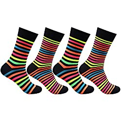 Bonjour Mens Cotton Crew Length Multicolor Striped Pack of 4 Pairs Bold Socks