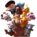 10pcs Nursery Rhyme Plush Finger Puppets Kids Talk Prop(macdonald Had a Farm)