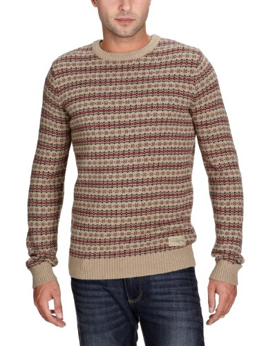 Jack & Jones Mens Holden Crew Knit Jumper Beige Large