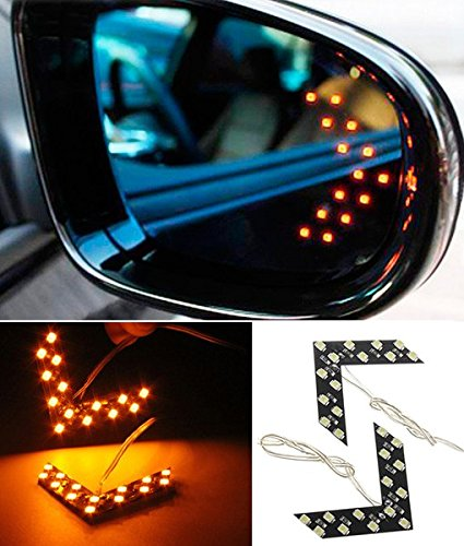 CHAMPLED® 2x 14 SMD LED Arrow Panel Car Side Mirror Turn Signal Indicator Lights Bulbs Amber yellow For BMW M BENZ AUDI VW VOLKSWAGEN VOLVO JAGUAR PORSCHE (Mk3 Side Marker compare prices)