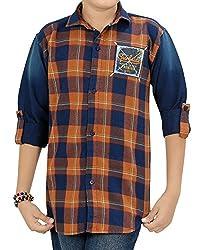 Kidzee 100% Cotton Fashionable Rust Color Designer Cotton Checkered Casual Shirt