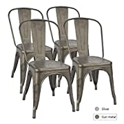 Furmax Metal Dining Chair Tolix Style Indoor-Outdoor Use Stackable Chic Dining Bistro Cafe Side Metal Chairs Gun Metal(Set of 4)