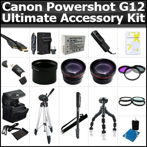 Ultimate Accessory Kit For The Canon Powershot G12 Digital Camera Includes Extended Replacement NB-7l (1300 mAH) Battery + Ac/Dc Rapid Travel Charger + 50″ Pro Tripod + HD Wide Angle Lens + 2X Telephoto + 3pc High Res Filter Kit + Much More
