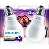 Philips 929001156431 - Pack de 2 bombillas LED clásicas, casquillo E27, consume 7 W, equivalente a 60 W, luz blanca cálida, no regulable