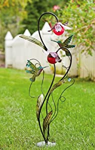 Stakes with Solar ball detail, Hummingbird Garden Stake,Metal and Glass,15.75x8x39.75 Inches