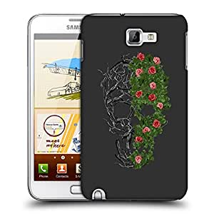 Snoogg Floral Skull Designer Protective Back Case Cover For Samsung Galaxy Note 1