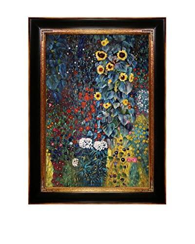 Gustav Klimt Farm Garden with Sunflowers Framed Oil Reproduction