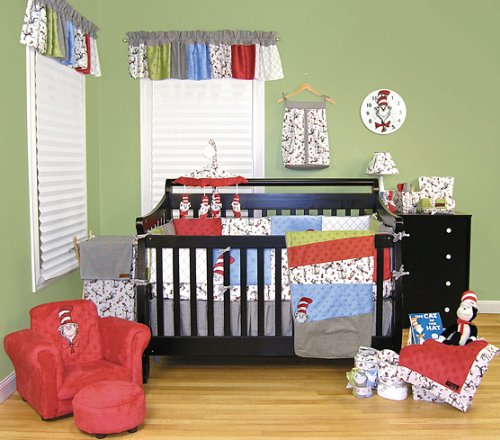 17 Piece Complete Dr. Seuss Cat in the Hat Nursery Ensemble Trend Lab Baby