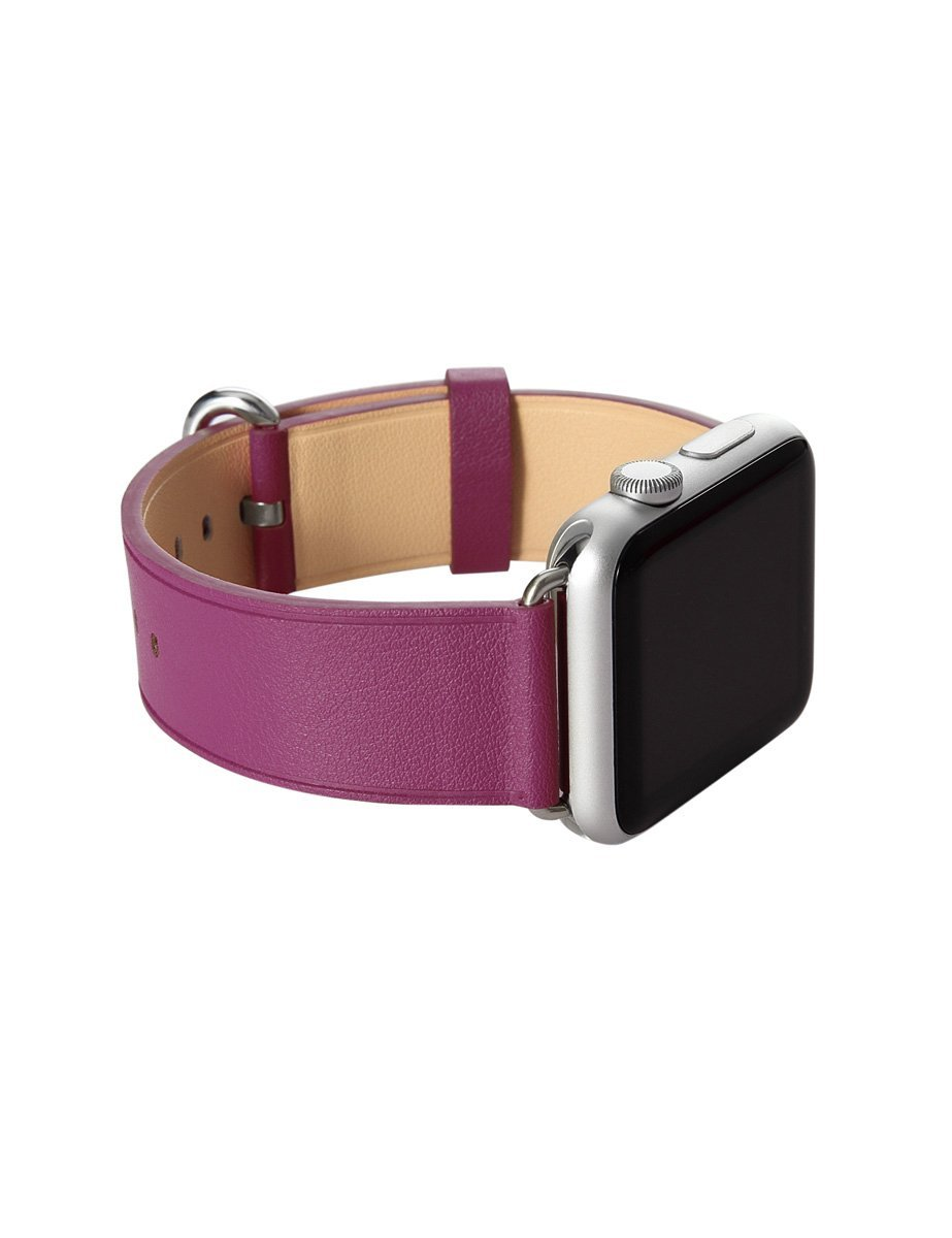 Apple Watch Band, Aisun® Vintage Embossed Genuine Leather strap Wrist Band Replacement with Metal Clasp for Apple Watch All Models (Fuchsia 38mm) 4