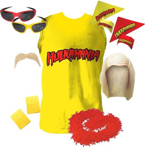 Hulk Hogan Hulkamania Complete Costume Set (Adult Large, Red Sunglasses/Yellow Bandana)