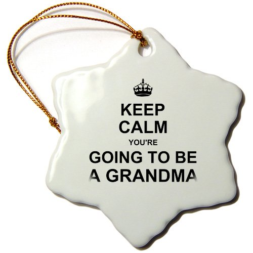 Inspirationzstore Typography - Keep Calm Youre Going To Be A Grandma - Future Grandmother Text Gift - Ornaments - 3 Inch Snowflake Porcelain Ornament - Orn_194460_1