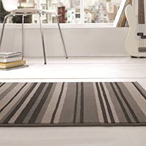 Flair Rugs Element Canterbury Striped Rug, Grey/Black, 80 x 150 Cm from Flair Rugs