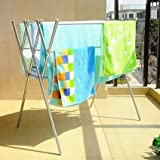 Soges Folding Clothes Airer, Indoor and Outdoor Laundry Drying Rack, Stainless Steel Balcony Hanger, Silver