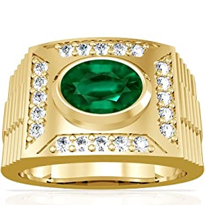 18K Yellow Gold Oval Cut Emerald Mens Ring