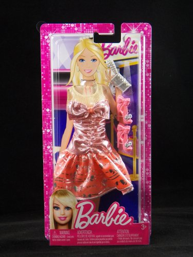 Barbie Fashion Peach & Silver Knee Length Fab Gown