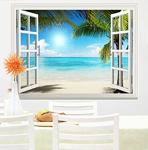 Wall26 White Sand Beach With Palm Tree Open Window Mural