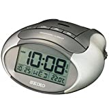 Seiko QHL023A LCD Alarm Clock with Calendar/Thermometer, Metallic Grey