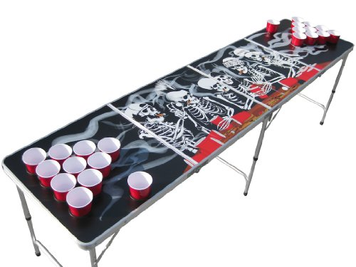 Read About The Pong Squad Bones Skeleton Beer Pong Table with Holes