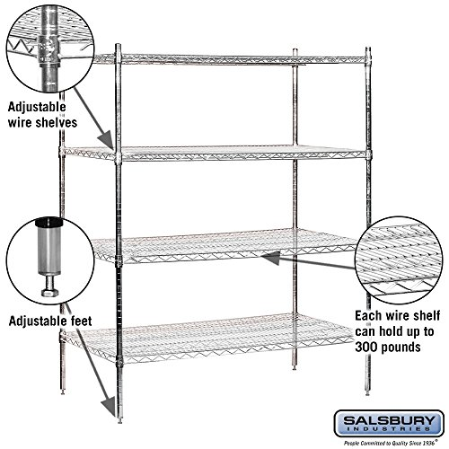 salsbury industries stationary wire shelving unit 48 inch wide by 63 inch high by 24 inch deep. Black Bedroom Furniture Sets. Home Design Ideas