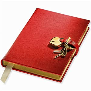 Genuine Leather Heart Lock Diary, Working Key and Lock, Red, 8""