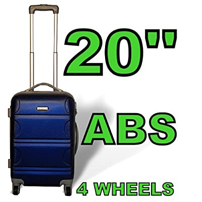 "Blue 20"" Abs Hard Plastic Airplane Cabin Plane Carry On Luggage Suitcase Hand Travel Bag from GUARANTEED4LESS"