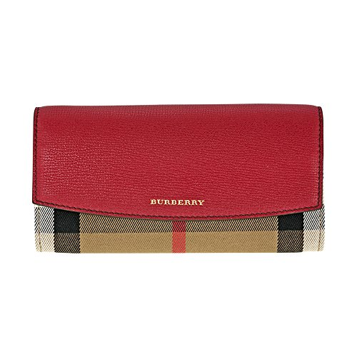 Burberry House Check and Leather Continental Wallet - Military Red