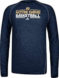 Notre Dame Fighting Irish Heather Blue Dribbler Long Sleeve Climalite Basketball... by adidas