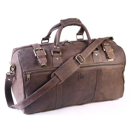 Primehide Rugged Oiled <strong>Leather< strong> Holdall <strong>Weekend< strong> Gym <strong>Bag< strong> By Firelog - <strong>Brown< strong>