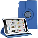 "KIQ (TM) Dark Blue 360 Degree Rotating Leather Case Skin Cover Swivel Stand for Barnes & Noble Nook HD 7"" Tablet PC"