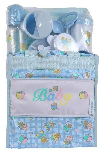 Big Oshi Baby Essentials 13 Piece Diaper Bag Feeding Gift Set - Blue