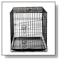 SmithBuilt Folding Black Dog Crate w/ Divider & ABS Tray Pan - Double Door - 42 in. Length