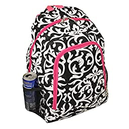 World Traveler Multipurpose Backpack 16-Inch, Pink Trim Damask, One Size