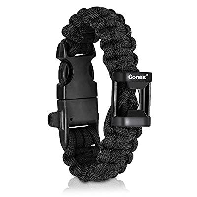 "Gonex 550 Paracord Premium Paracord Bracelet Military Survival Parachute Cord with Fire Starter fits approx 8""-10"" (23-26 cm) Wrists 4 Color to Choose from GONEX"
