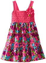 Youngland Girls 2-6X Crochet Knit To Floral Woven Print Sundress, Fuchsia/Multi, 2T
