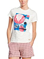 "THINK PINK Camiseta Manga Corta T-Shirt Donna""Think Pink""Girocollo In Jersey Di Cotone Stretch Tinto Capo Stampa Fotografica (Blanco)"