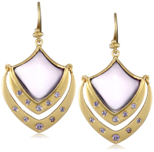 Lauren Harper Collection Sugar Buzz 18k Gold, Amethyst and Tanzanite Crest Earrings