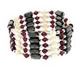 51K3oO7lx7L. SL160  Fresh Water Pearl Magnetic Wrap Bracelet/Necklace/Anklet Lariat   Purple   36 in Length