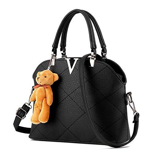 Koson-Man, grande, da donna, in pelle sintetica, stile Vintage, decorata con borsa Tote Bags, nero (Nero) - KMUKHB121