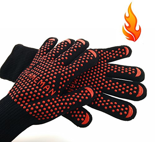FlameMan BBQ Grilling Cooking Gloves,Extreme Heat Resistant for Extra Forearm Protection (1 Pair) (XL) (Bbq Gloves Uchef compare prices)