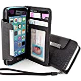 myLife Onyx Black {Business Classy Design} Faux Leather (Card, Cash and ID Holder + Magnetic Closing + Hand Strap) Slim Wallet for the iPhone 5C Smartphone by Apple (External Textured Synthetic Leather with Magnetic Clip + Internal Secure Snap In Hard Rubberized Bumper Holder) Reviews