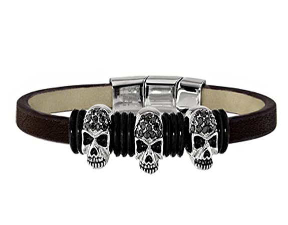 STEL Stainless Steel and Black Leather Skull Bracelet $33.00