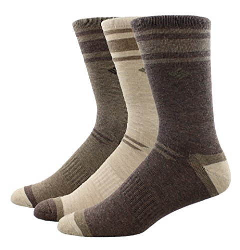 Columbia Men's Crew Socks - Polyester/Cotton Brown Size 6-12, 3 Pairs