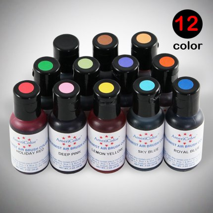 12 Americolor Amerimist Airbrush Food Colors 0 7oz for Cake ...