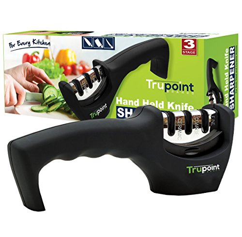 Trupoint Kitchen Blade and Knife Sharpener - Makes Knives Razor Sharp - Proven and Tested Knife Sharpening System - Save Time, Slice, Dice, Cut and Chop Faster and Safer - Lifetime No Risk Guarantee (Dual Blade Craft Knife compare prices)