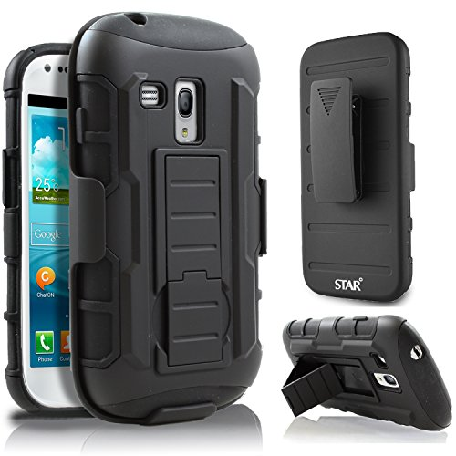Galaxy S3 Mini Case, Samsung Galaxy S3 Mini i8190 Case, Starshop Hybrid Full Protection High Impact Dual Layer Holster Case with Kickstand and Locking Belt Swivel Clip Black (Phone Case Samsung Galaxy S3 Mini compare prices)