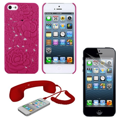 Skque New Clear Transparent Anti Glare Screen Protector Film + Pink 3D Rose Carving Hard Case + Red Matte Retro Cell Phone Handset With Answer And Volume Controls For The Latest Model Hot Sell Cellphone Apple Iphone 5 Smartphone