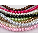 20 Strands Lot Mix, Glass Round Pearl Beads, Dyed Pearlized Pastels, Approx 300 Inches